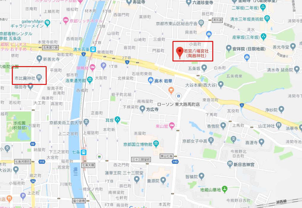 市比賣神社と若宮八幡宮社の地図